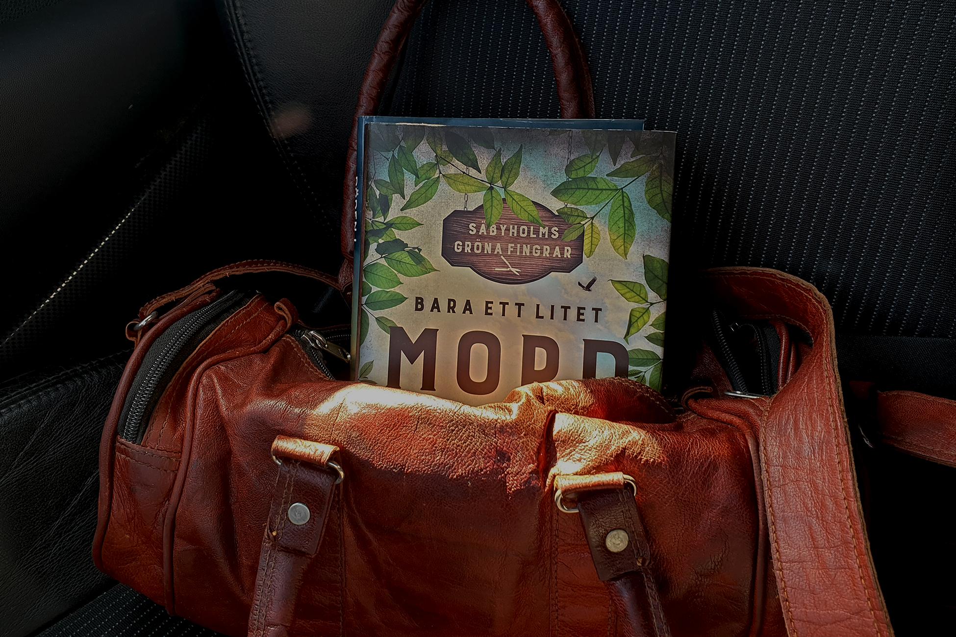 Carin Hjulströms nya bok Bara ett litet mord ligger nedstoppad i en handväska i skinn.